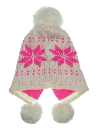 b13b1345e61 Ear Cover Pom Pom Snow Flake Double Layer Knit Beanie Ski Cap Off White 6343