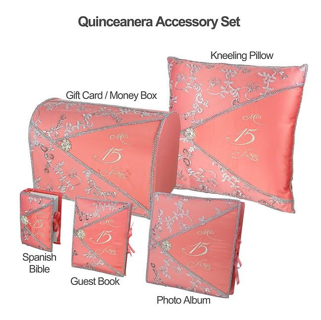 Quinceañera Accessory Set Bible Guest Book Photo Album Gift Box
